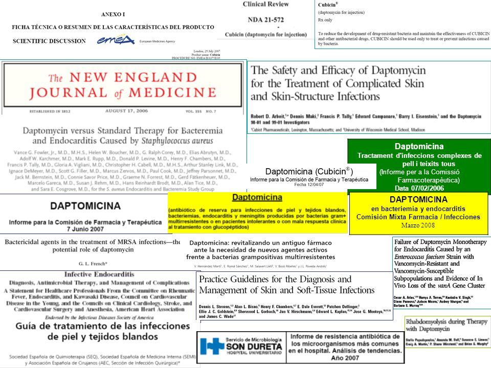 Daptomicina Tractament d'infeccions complexes de pell i teixits tous (Informe per a la Comissió Farmacoterapèutica) Data 07/02/2006 DAPTOMICINA en bac