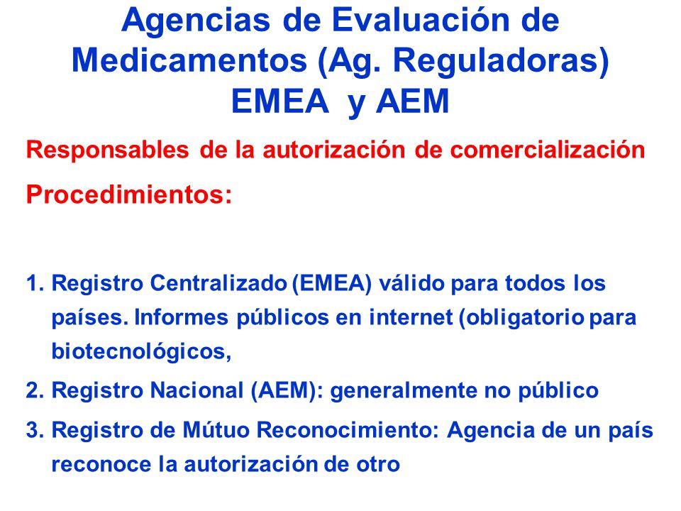 Agencias de Evaluación de Medicamentos (Ag. Reguladoras) EMEA y AEM Responsables de la autorización de comercialización Procedimientos: 1.Registro Cen