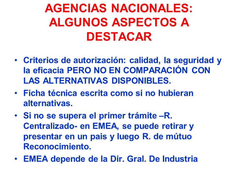 AGENCIAS NACIONALES: ALGUNOS ASPECTOS A DESTACAR Criterios de autorización: calidad, la seguridad y la eficacia PERO NO EN COMPARACIÓN CON LAS ALTERNA