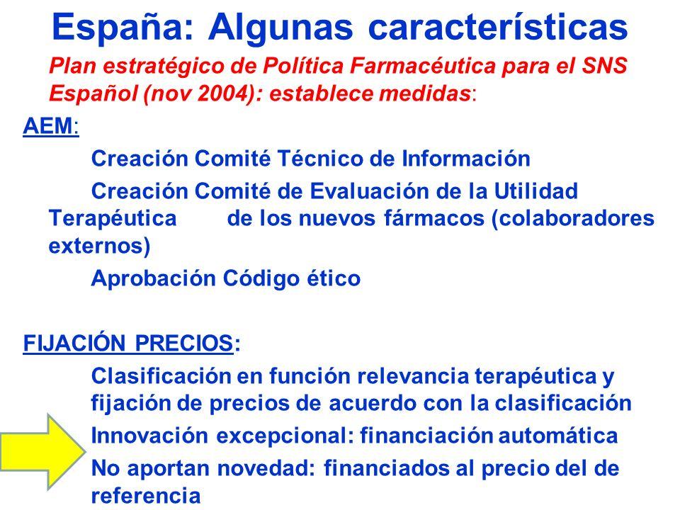 España: Algunas características Plan estratégico de Política Farmacéutica para el SNS Español (nov 2004): establece medidas: AEM: Creación Comité Técn
