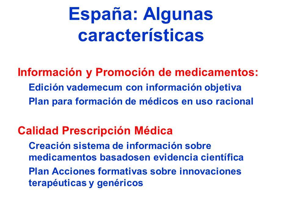 España: Algunas características Información y Promoción de medicamentos: Edición vademecum con información objetiva Plan para formación de médicos en