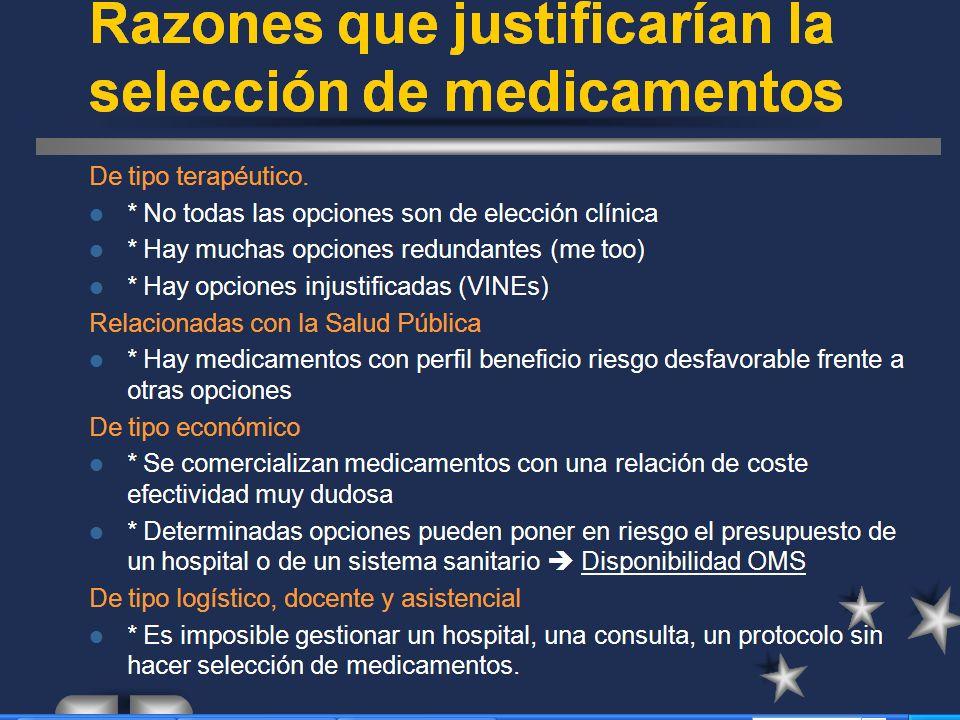 Razones que justifican la selección de medicamentos De tipo terapéutico.