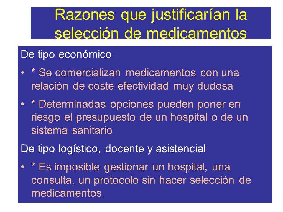 Razones que justificarían la selección de medicamentos De tipo económico * Se comercializan medicamentos con una relación de coste efectividad muy dud
