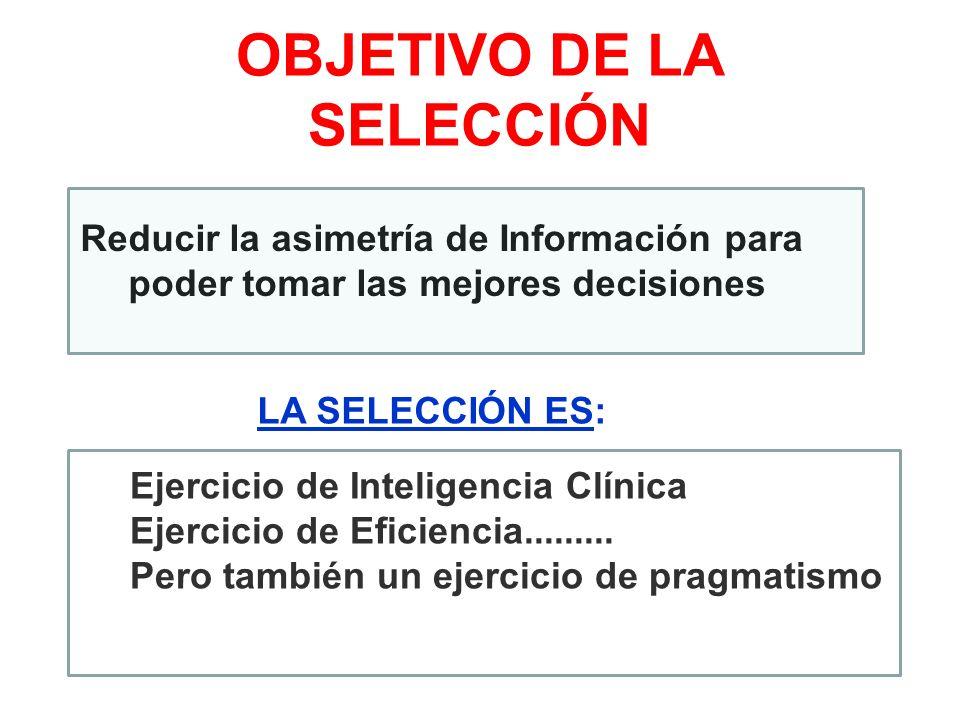 OBJETIVO DE LA SELECCIÓN Ejercicio de Inteligencia Clínica Ejercicio de Eficiencia......... Pero también un ejercicio de pragmatismo Reducir la asimet