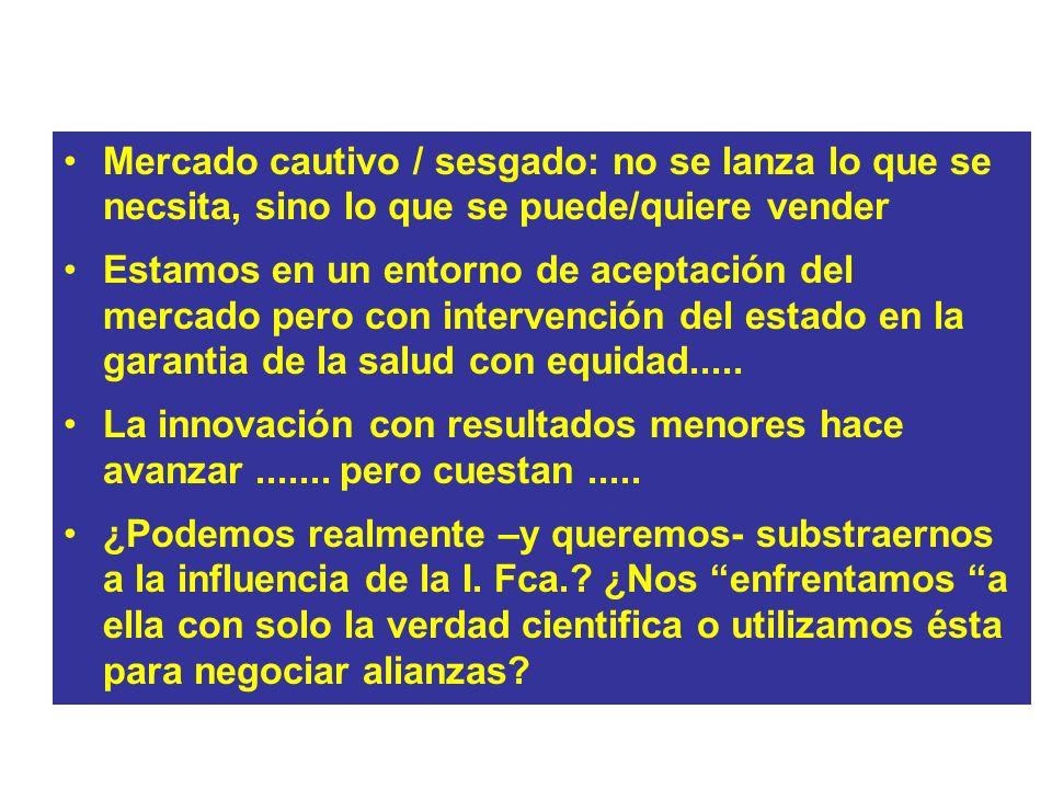 LOS GRANDES DILEMAS Mercado cautivo / sesgado: no se lanza lo que se necsita, sino lo que se puede/quiere vender Estamos en un entorno de aceptación d