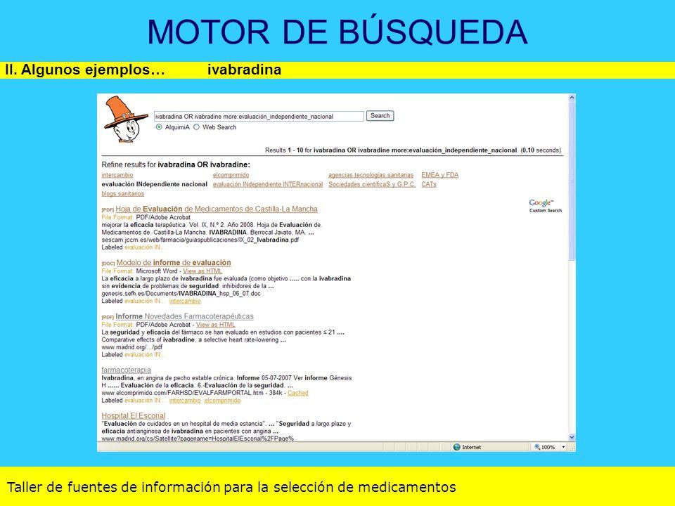 Taller de fuentes de información para la selección de medicamentos MOTOR DE BÚSQUEDA II. Algunos ejemplos…ivabradina