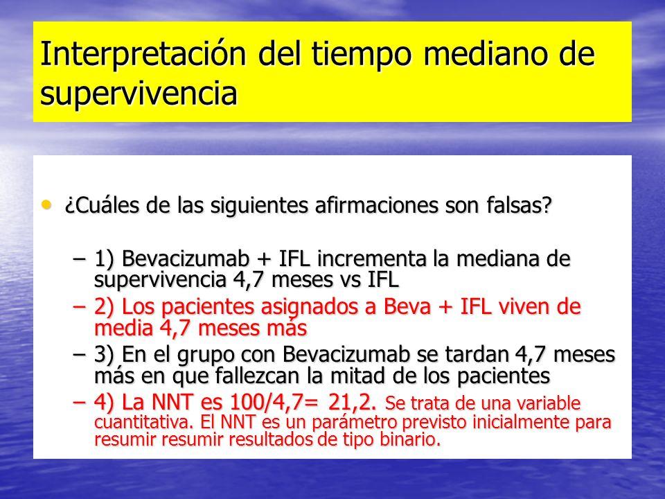 Interpretación del tiempo mediano de supervivencia ¿Cuáles de las siguientes afirmaciones son falsas? ¿Cuáles de las siguientes afirmaciones son falsa