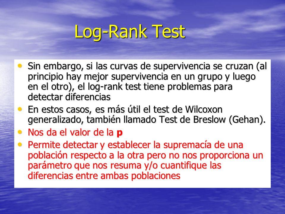 Log-Rank Test Log-Rank Test Sin embargo, si las curvas de supervivencia se cruzan (al principio hay mejor supervivencia en un grupo y luego en el otro), el log-rank test tiene problemas para detectar diferencias Sin embargo, si las curvas de supervivencia se cruzan (al principio hay mejor supervivencia en un grupo y luego en el otro), el log-rank test tiene problemas para detectar diferencias En estos casos, es más útil el test de Wilcoxon generalizado, también llamado Test de Breslow (Gehan).