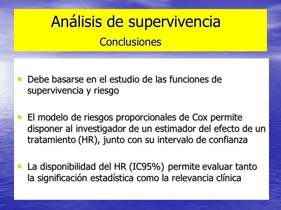 Análisis de supervivencia Conclusiones Análisis de supervivencia Conclusiones Debe basarse en el estudio de las funciones de supervivencia y riesgo De