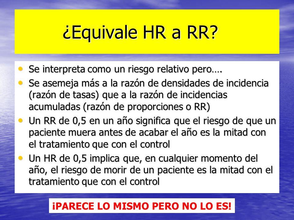 ¿Equivale HR a RR? ¿Equivale HR a RR? Se interpreta como un riesgo relativo pero…. Se interpreta como un riesgo relativo pero…. Se asemeja más a la ra