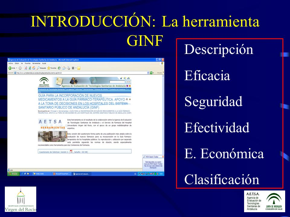 INTRODUCCIÓN: La herramienta GINF Descripción Eficacia Seguridad Efectividad E. Económica Clasificación