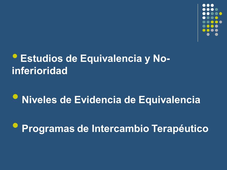 Estudios de Equivalencia y No- inferioridad Niveles de Evidencia de Equivalencia Programas de Intercambio Terapéutico