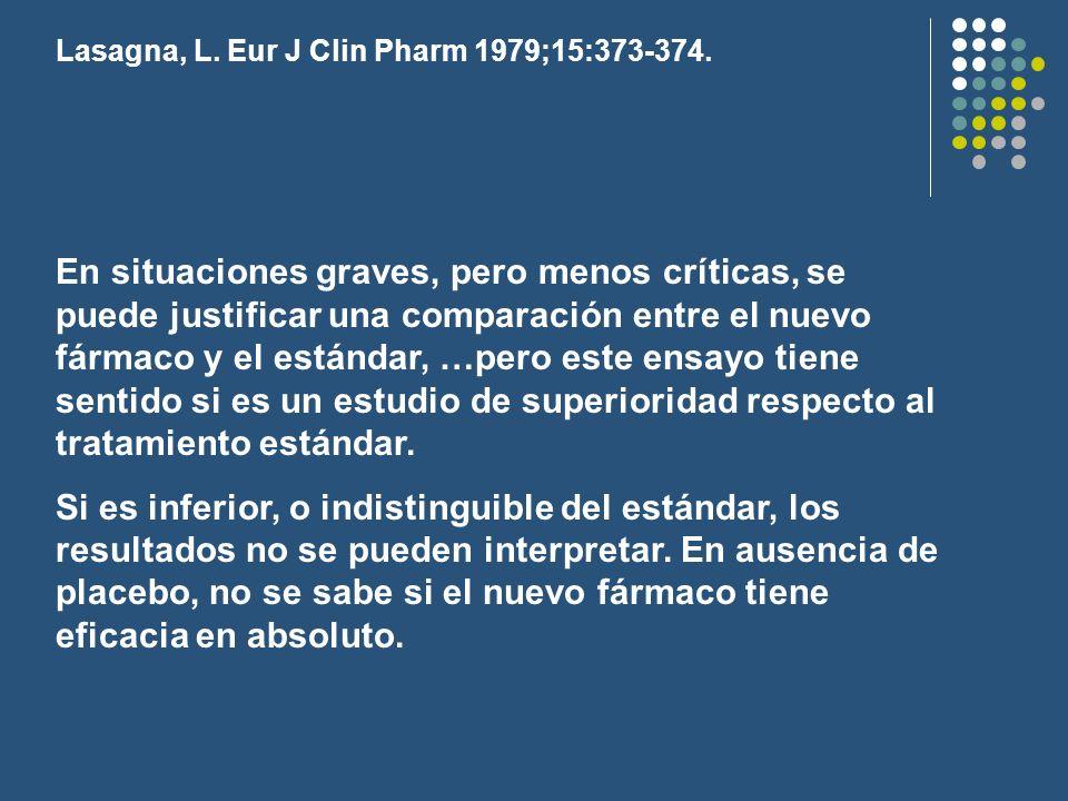 Lasagna, L. Eur J Clin Pharm 1979;15:373-374. En situaciones graves, pero menos críticas, se puede justificar una comparación entre el nuevo fármaco y
