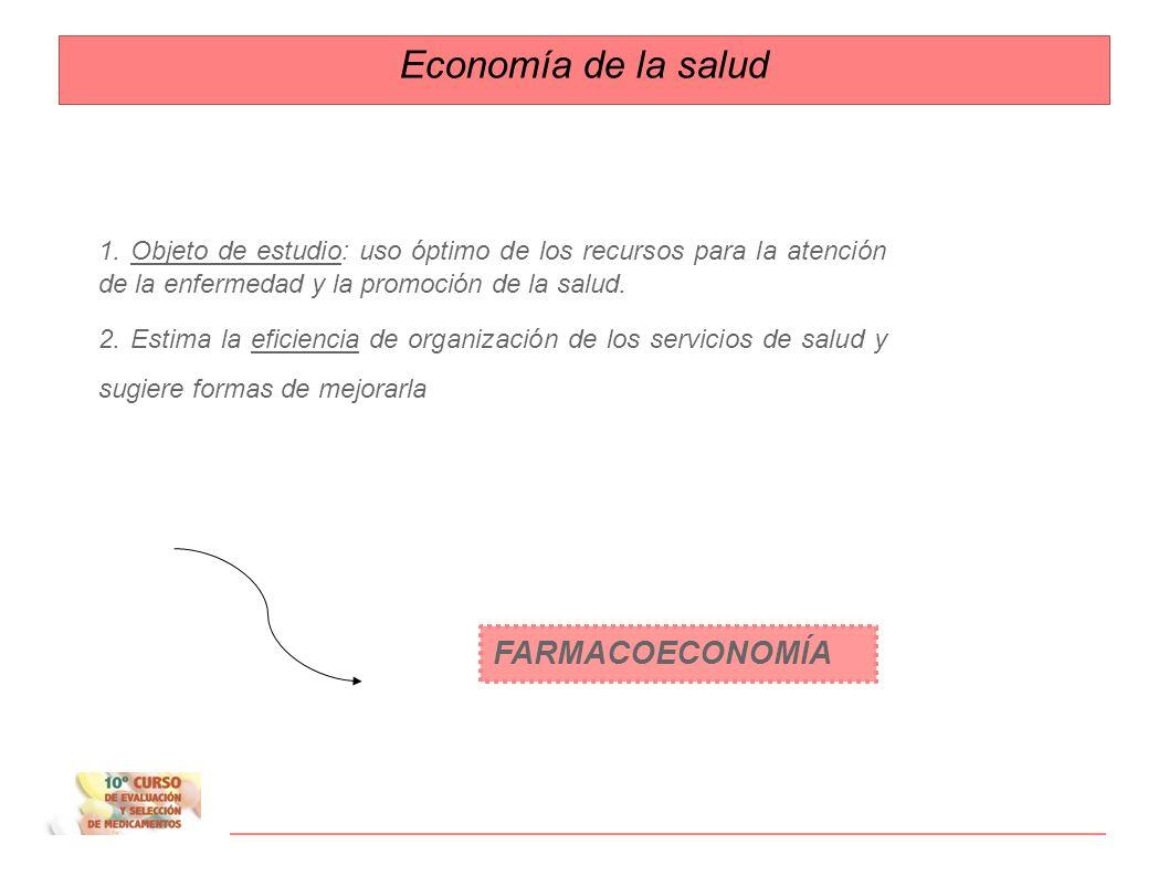 Evaluaciones económicas Ayudan a hacer selecciones más racionales Criterios de selección de medicamentos: Relación Beneficio-RiesgoRelación Coste-efectividad Criterios primarios: EFICACIA SEGURIDAD Criterios secundarios: CONVENIENCIA COSTE
