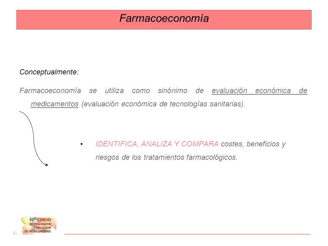 Farmacoeconomía Conceptualmente: Farmacoeconomía se utiliza como sinónimo de evaluación económica de medicamentos (evaluación económica de tecnologías sanitarias).