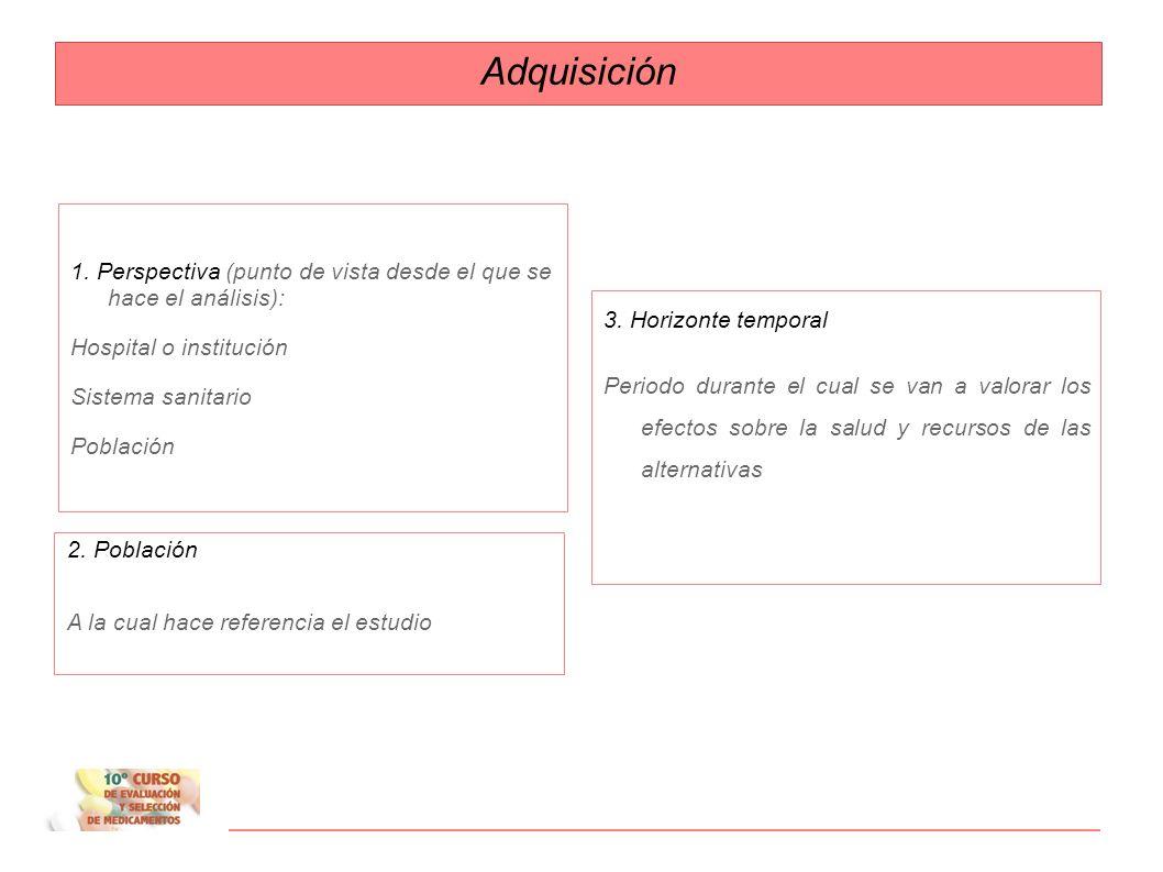 Etapas de las evaluaciones 1. Adquisición 2. Alternativas 3. Ajuste temporal 4. Valor medio/ esperado 5. Resultado basal 6. Análisis de sensibilidad