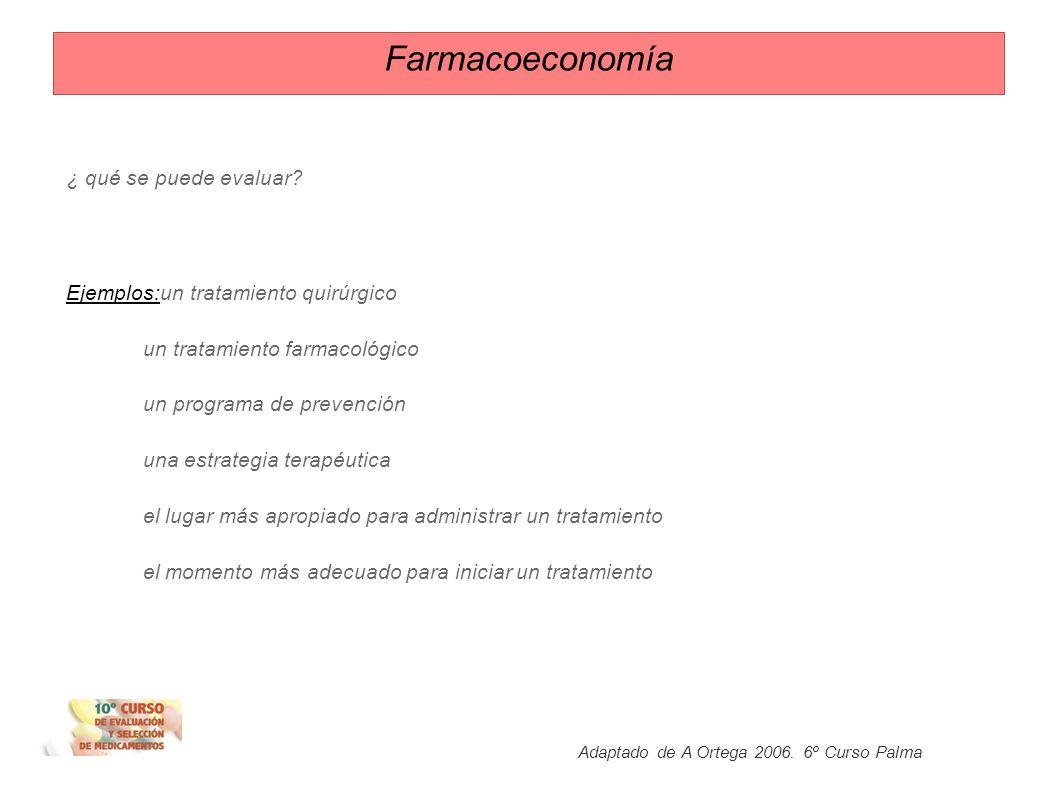 Farmacoeconomía Conceptualmente: Farmacoeconomía se utiliza como sinónimo de evaluación económica de medicamentos (evaluación económica de tecnologías