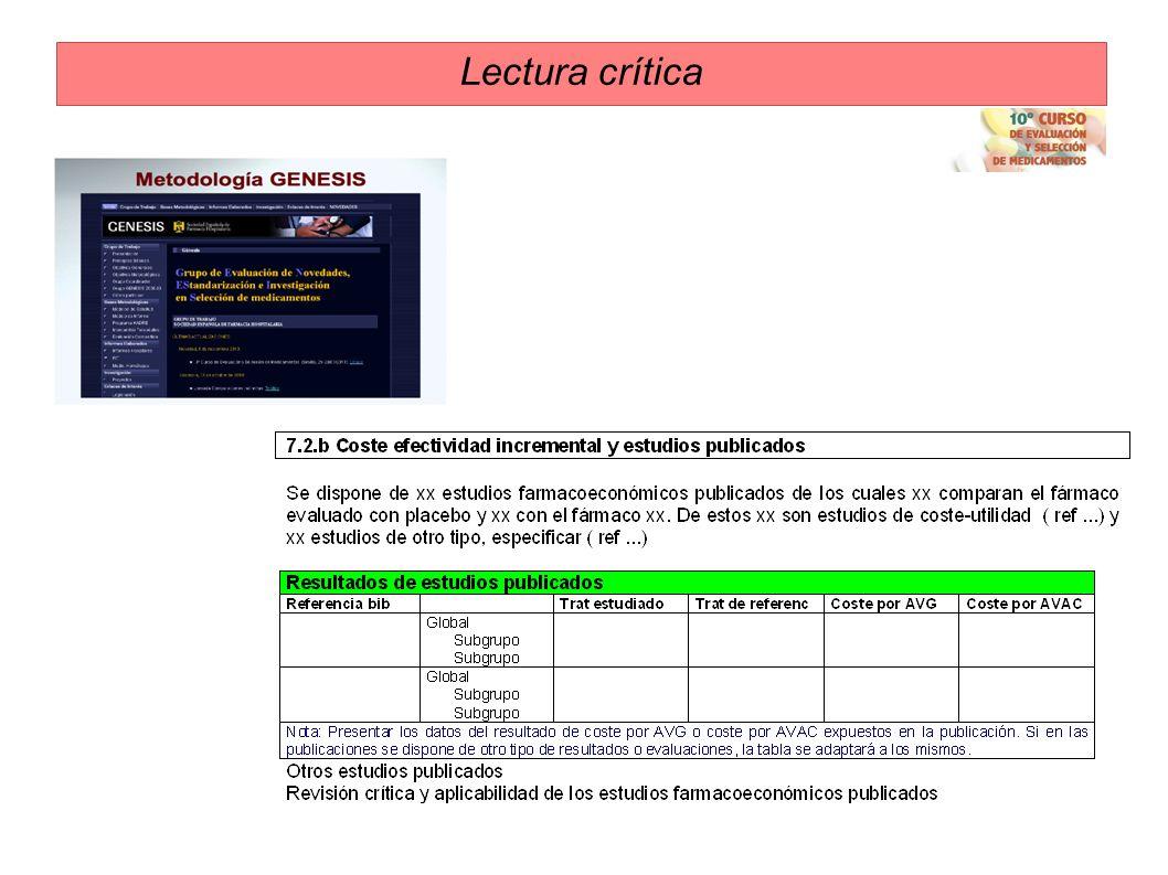Lectura crítica Análisis crítico/ interpretación Drummond et al. - Descripción de las alternativas -Demostrada eficacia (EC, práctica habitual, sesgo)