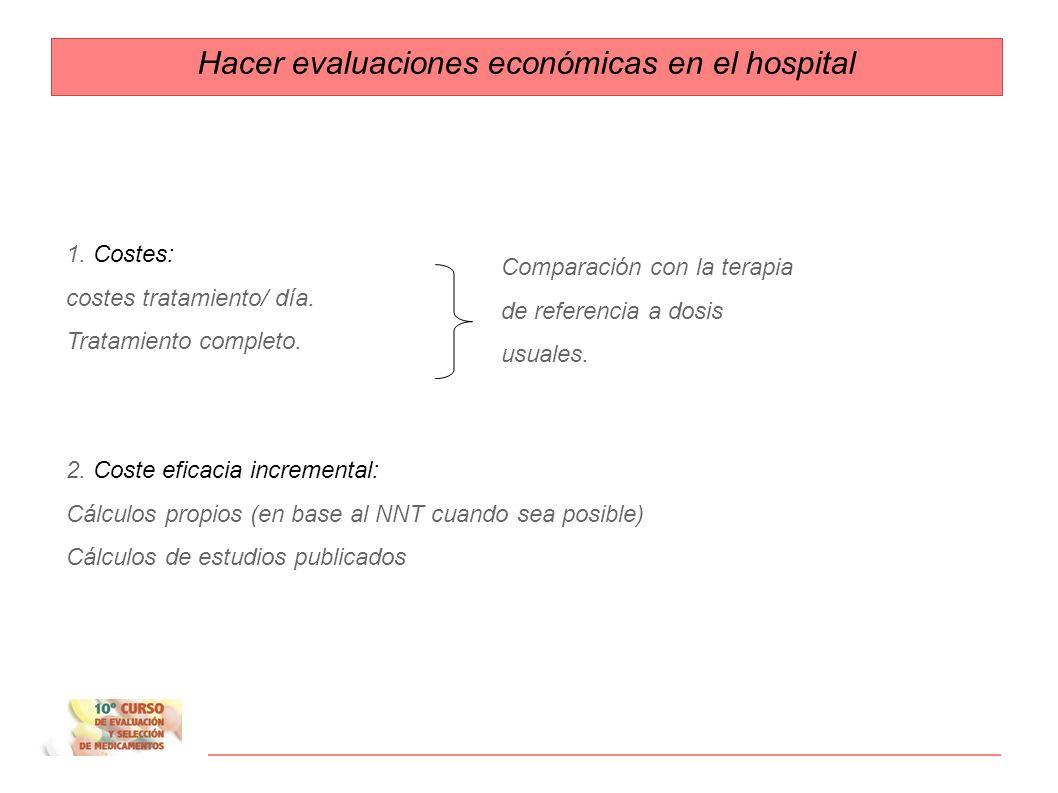 Hacer evaluaciones económicas en el hospital Área económica/ evaluación de costes Costes Diferencia de costes Coste eficacia Coste eficacia incrementa