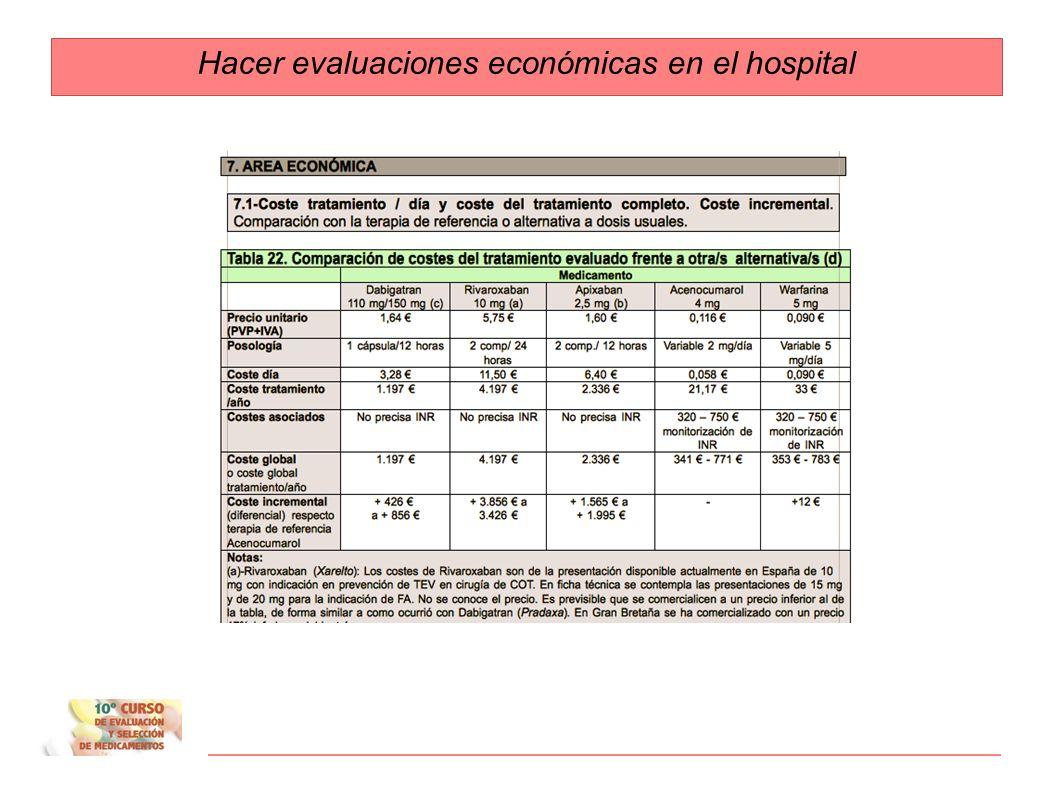 Hacer evaluaciones económicas en el hospital 1. Costes: costes tratamiento/ día. Tratamiento completo. 2. Coste eficacia incremental: Cálculos propios