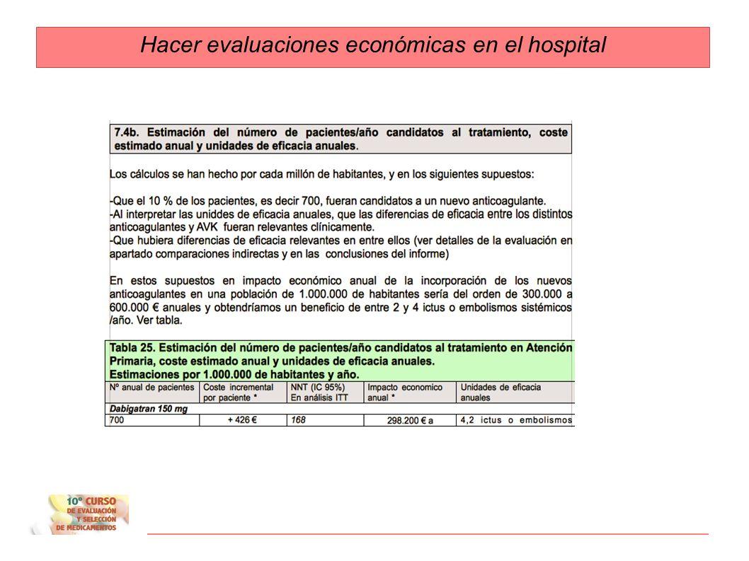 3. Estimación del impacto económico y del beneficio en salud esperable en base al número de pacientes/año en el hospital candidatos al tratamiento 4.