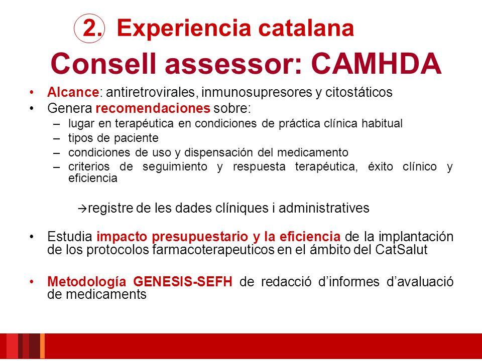 Consell assessor: CAMHDA Alcance: antiretrovirales, inmunosupresores y citostáticos Genera recomendaciones sobre: –lugar en terapéutica en condiciones