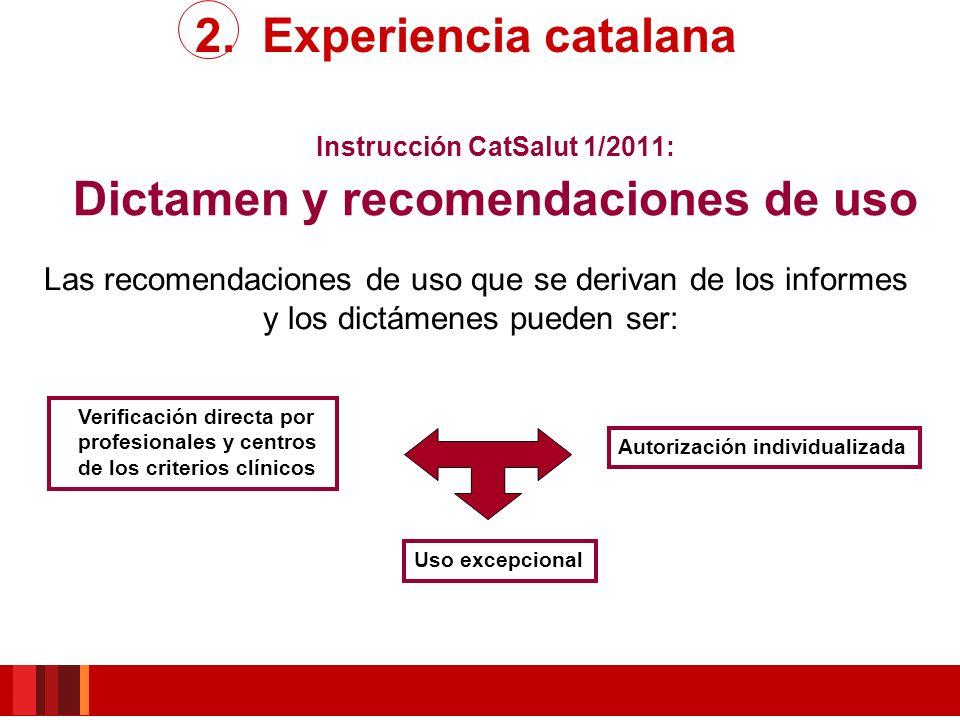 Instrucción CatSalut 1/2011: Dictamen y recomendaciones de uso Uso excepcional Autorización individualizada Verificación directa por profesionales y c