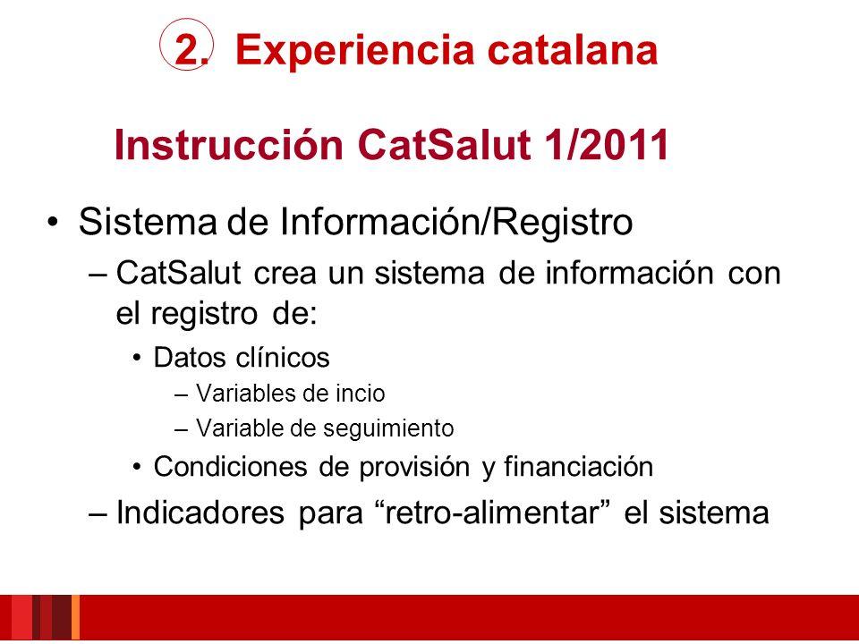 Instrucción CatSalut 1/2011 Sistema de Información/Registro –CatSalut crea un sistema de información con el registro de: Datos clínicos –Variables de