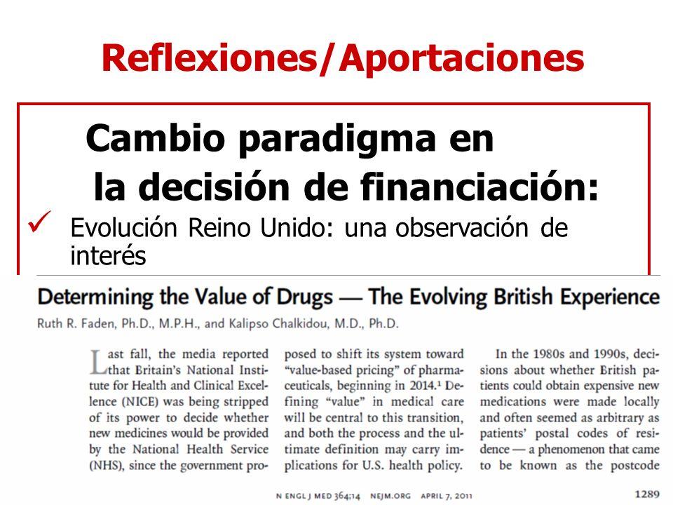 Cambio paradigma en la decisión de financiación: Reflexiones/Aportaciones Evolución Reino Unido: una observación de interés