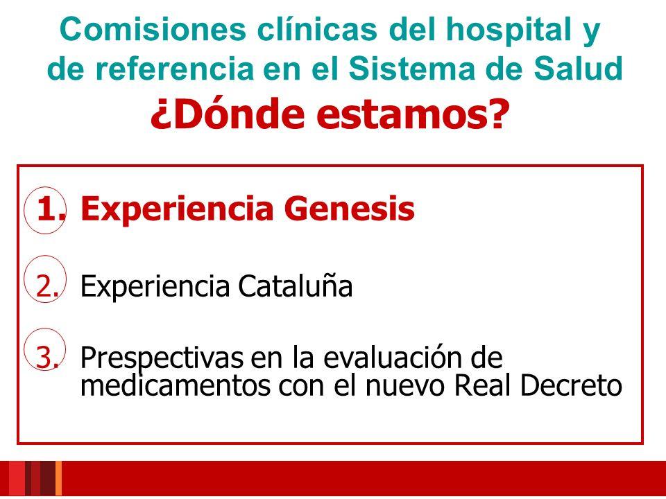 Modelo metodológico MADRE Informes GENESIS Publicación de informes 1.de Hospitales 2.Informes de referencia Grupo de trabajo GENESIS SEFH creado en 2005 Experiencia colaborativa 1.
