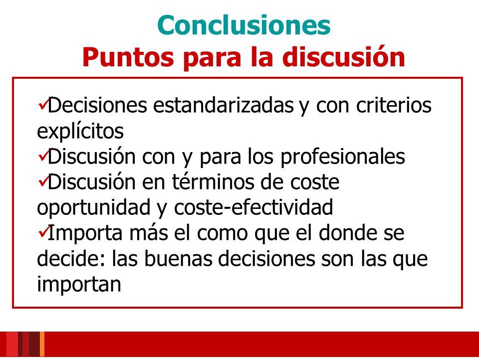 Conclusiones Puntos para la discusión Decisiones estandarizadas y con criterios explícitos Discusión con y para los profesionales Discusión en término