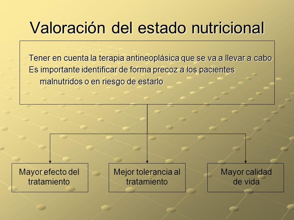 Valoración del estado nutricional Tener en cuenta la terapia antineoplásica que se va a llevar a cabo Es importante identificar de forma precoz a los