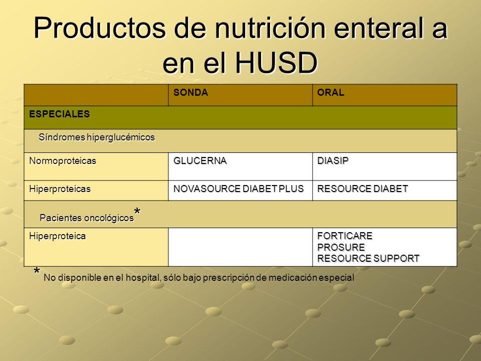 Productos de nutrición enteral a en el HUSD SONDAORAL ESPECIALES Síndromes hiperglucémicos NormoproteicasGLUCERNADIASIP Hiperproteicas NOVASOURCE DIAB