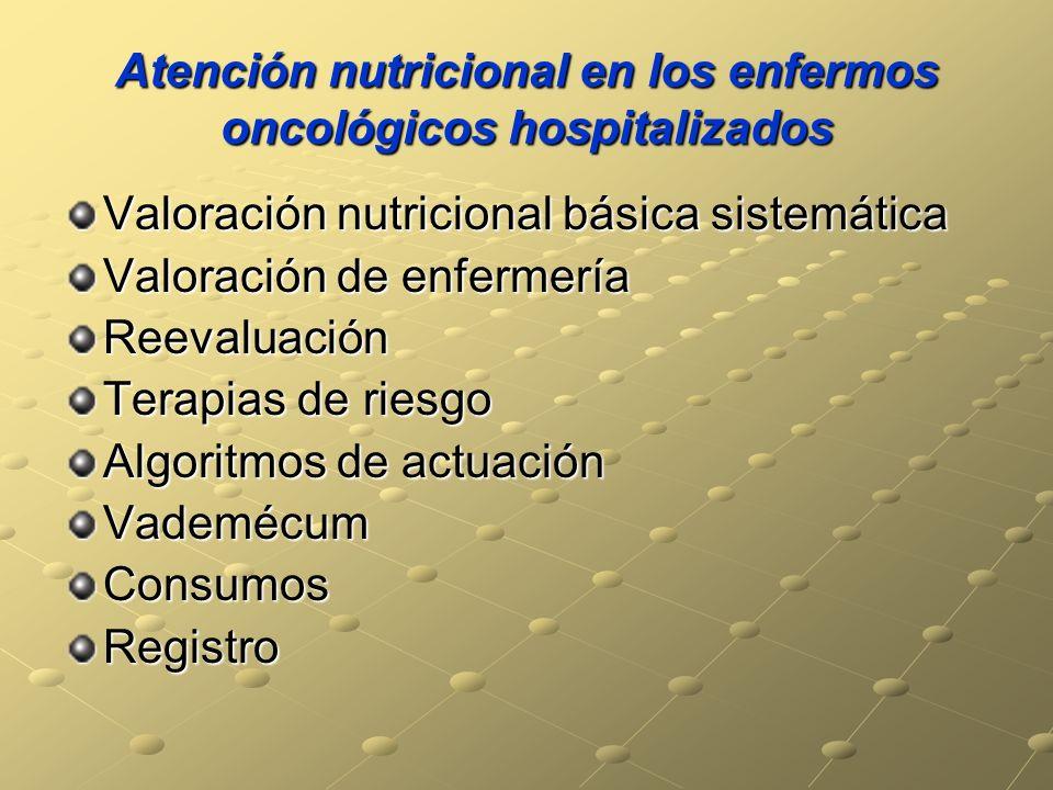 Atención nutricional en los enfermos oncológicos hospitalizados Valoración nutricional básica sistemática Valoración de enfermería Reevaluación Terapias de riesgo Algoritmos de actuación VademécumConsumosRegistro