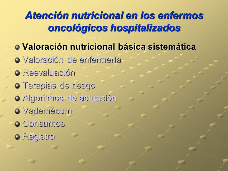 Atención nutricional en los enfermos oncológicos hospitalizados Valoración nutricional básica sistemática Valoración de enfermería Reevaluación Terapi