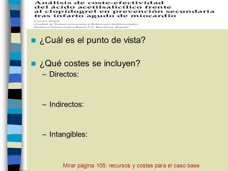 ¿Cuál es el punto de vista? ¿Qué costes se incluyen? –Directos: –Indirectos: –Intangibles: Mirar página 105: recursos y costes para el caso base