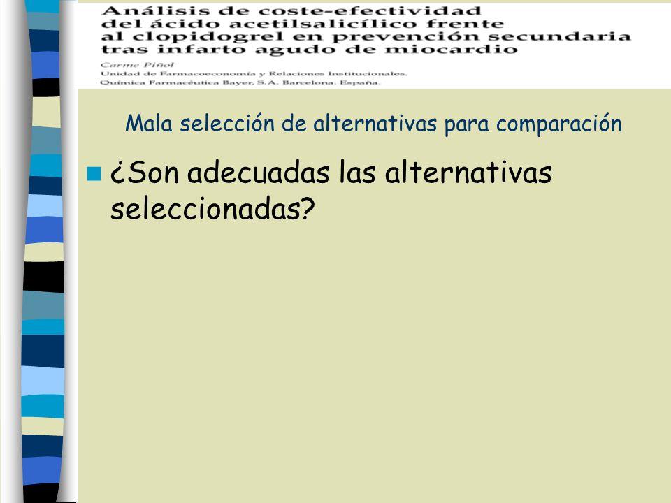 Mala selección de alternativas para comparación ¿Son adecuadas las alternativas seleccionadas?