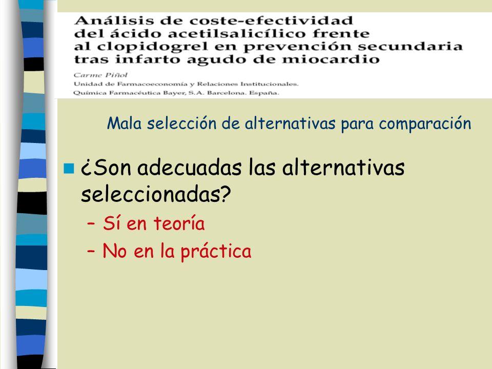 Mala selección de alternativas para comparación ¿Son adecuadas las alternativas seleccionadas? –Sí en teoría –No en la práctica