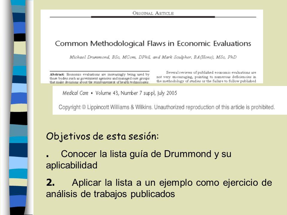 Objetivos de esta sesión:. Conocer la lista guía de Drummond y su aplicabilidad 2. Aplicar la lista a un ejemplo como ejercicio de análisis de trabajo