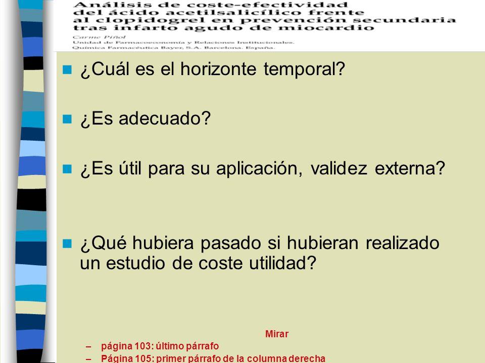 ¿Cuál es el horizonte temporal? ¿Es adecuado? ¿Es útil para su aplicación, validez externa? ¿Qué hubiera pasado si hubieran realizado un estudio de co