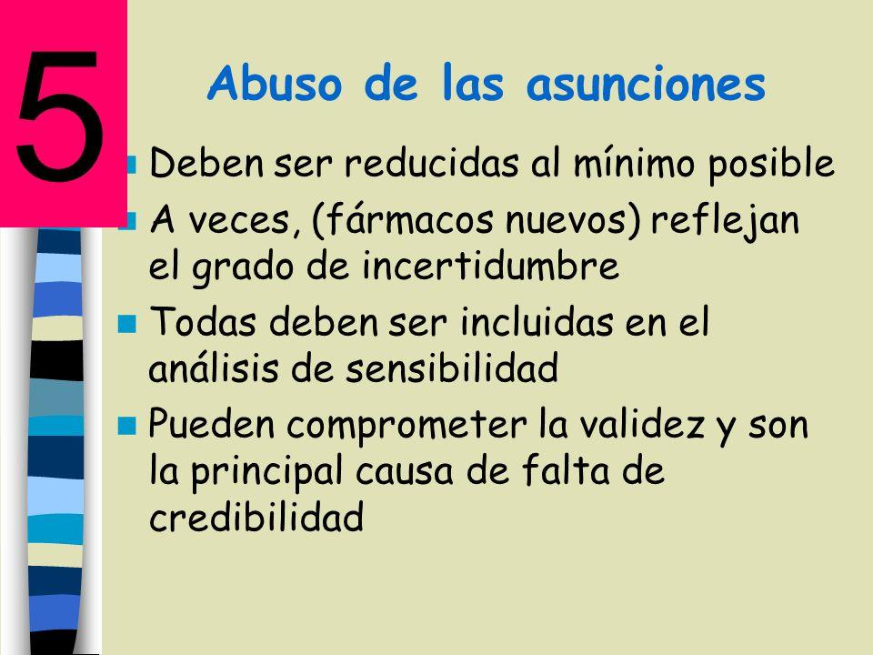 Abuso de las asunciones Deben ser reducidas al mínimo posible A veces, (fármacos nuevos) reflejan el grado de incertidumbre Todas deben ser incluidas