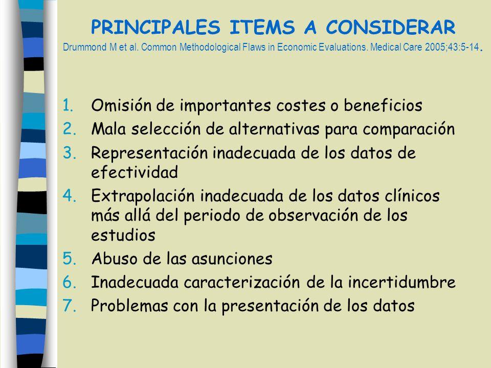 PRINCIPALES ITEMS A CONSIDERAR Drummond M et al. Common Methodological Flaws in Economic Evaluations. Medical Care 2005;43:5-14. 1.Omisión de importan