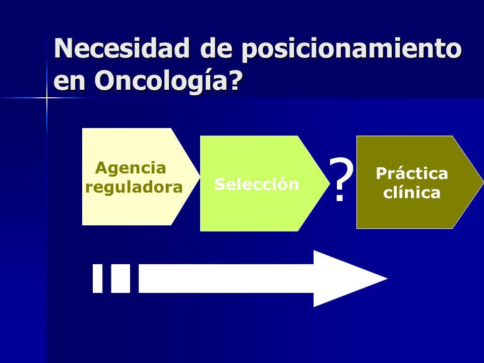 Necesidad de posicionamiento en Oncología? Agencia reguladora Práctica clínica ? Selección