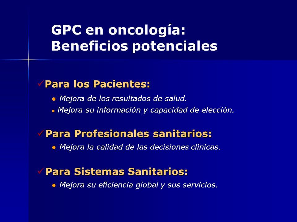 GPC en oncología: Beneficios potenciales Para los Pacientes: Mejora de los resultados de salud. Mejora su información y capacidad de elección. Para Pr