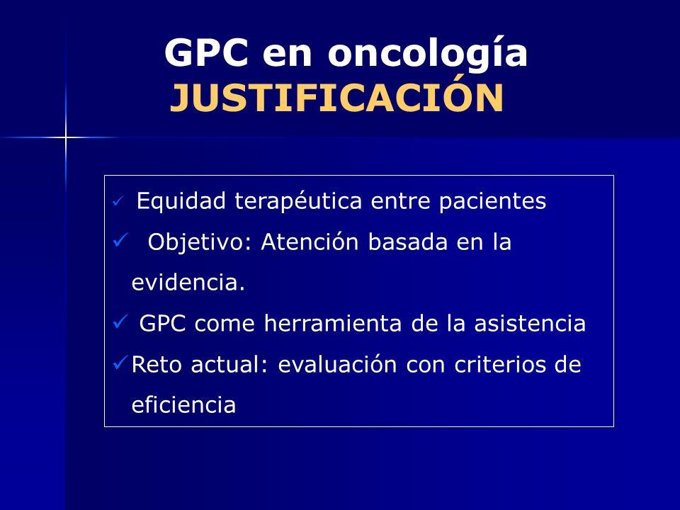 GPC en oncología JUSTIFICACIÓN Equidad terapéutica entre pacientes Objetivo: Atención basada en la evidencia. GPC come herramienta de la asistencia Re