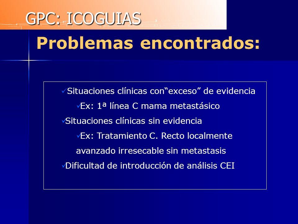 Problemas encontrados: Situaciones clínicas conexceso de evidencia Ex: 1ª línea C mama metastásico Situaciones clínicas sin evidencia Ex: Tratamiento
