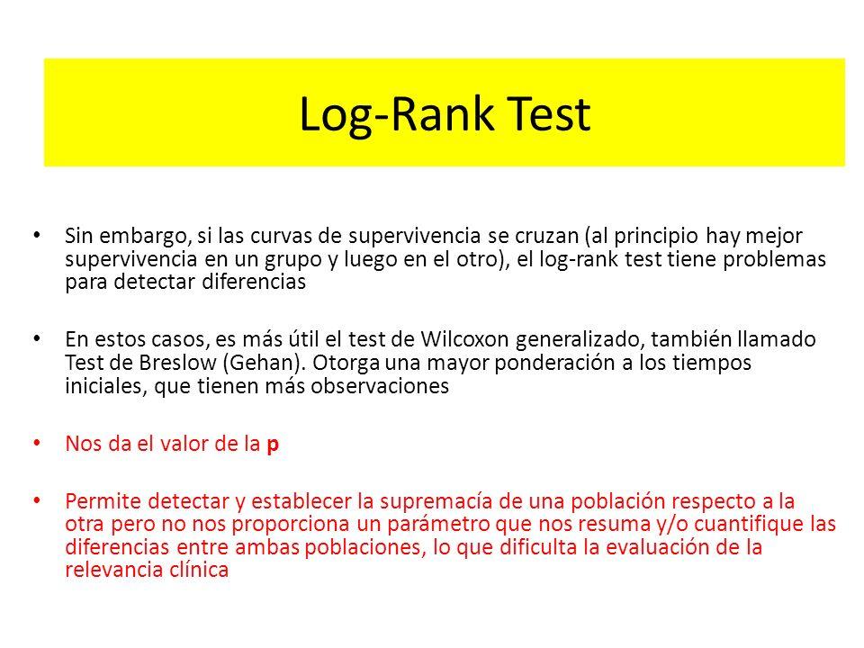 Log-Rank Test Sin embargo, si las curvas de supervivencia se cruzan (al principio hay mejor supervivencia en un grupo y luego en el otro), el log-rank