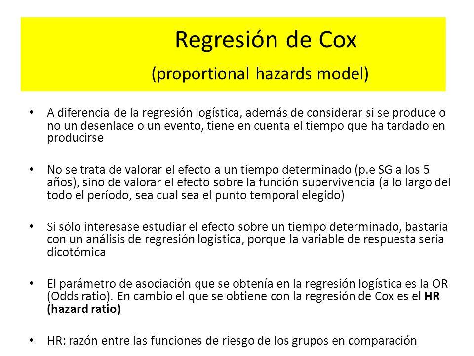 Regresión de Cox (proportional hazards model) A diferencia de la regresión logística, además de considerar si se produce o no un desenlace o un evento