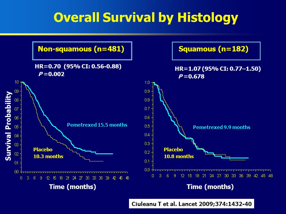 Overall Survival by Histology Pemetrexed 15.5 months Pemetrexed 9.9 months Placebo 10.3 months Placebo 10.8 months Non-squamous (n=481) Squamous (n=18