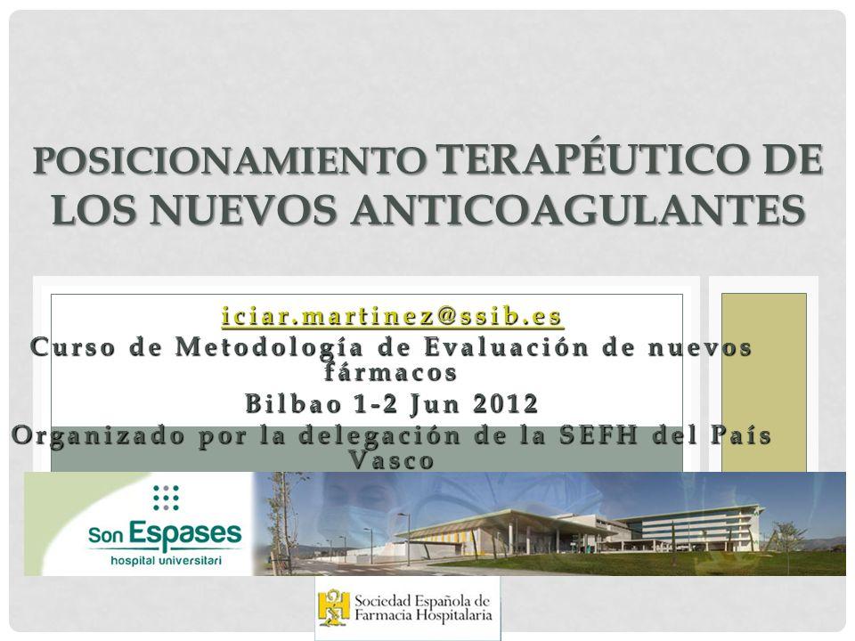 iciar.martinez@ssib.es Curso de Metodología de Evaluación de nuevos fármacos Bilbao 1-2 Jun 2012 Organizado por la delegación de la SEFH del País Vasc